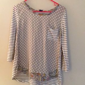 Multi patterned Anthropologie long sleeve blouse
